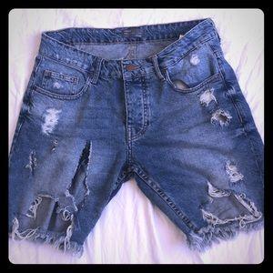 Pants - Ripped boyfriend jean shorts